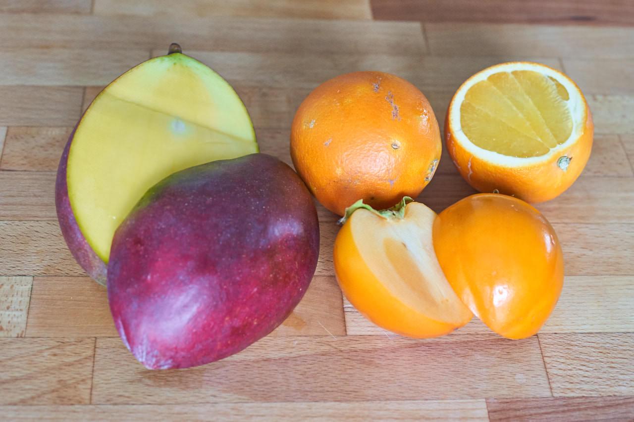 Zutaten für Orange Mango Persimmon Saft